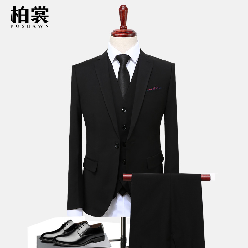 men's business casual suits sets / male three piece suit vest+Blazers+pants jacket coat trousers waistcoat / size S 5XL-in Suits from Men's Clothing    3