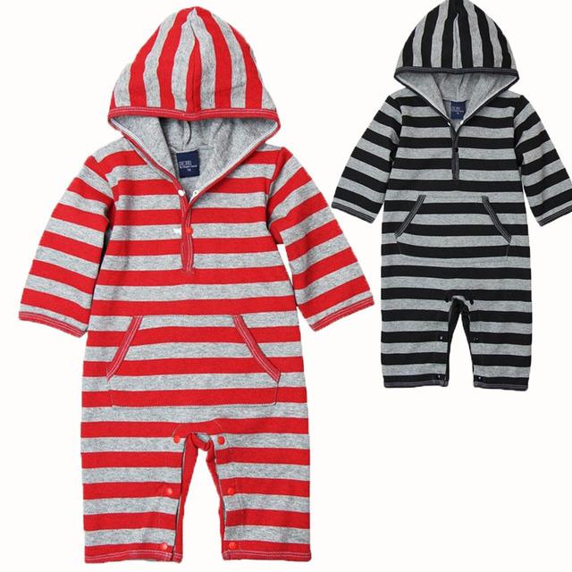Roupas de bebê polo de manga longa de algodão macacão infantil bebe com capuz outono bebê recém-nascido roupas de bebê listrada