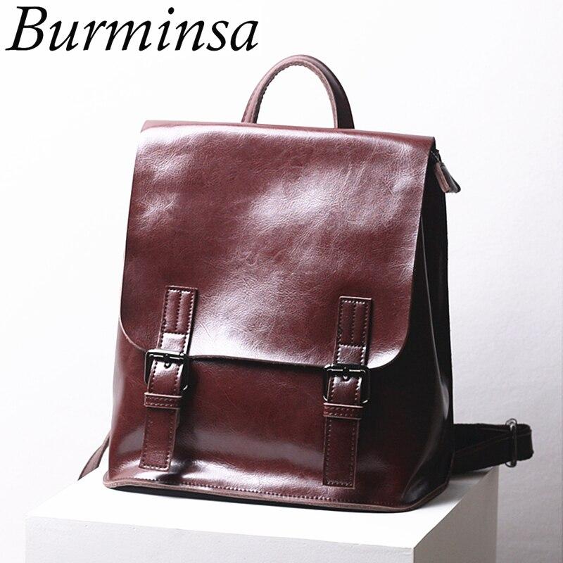 Burminsa Vintage Genuine Leather Backpack Women Travel Bags Luxury Oil Wax Cowhide College School Bags For