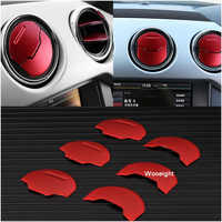 6Pcs Aluminium Car Dashboard Trim AC Air Condition Vent Outlet Cover Ring Circle Trim Sticker For Ford Mustang 2015 2016 2017
