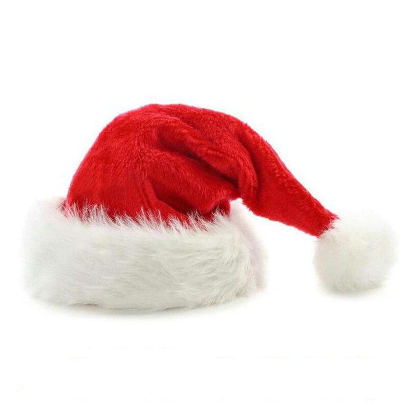 Red Santa Hat pompoms beanies 2017 plush Christmas Hat for women man winter festival Costume Accessory fancy dress hat cap