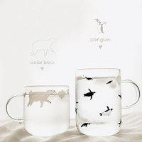 신선한 수제 유리 머그잔 북극곰 또는 펭귄 스타일 커피 컵 핸들 mornin 유리 머그잔 sh99