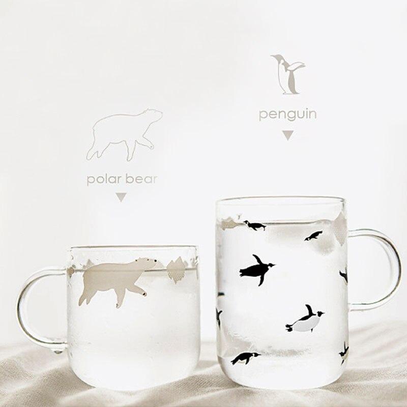 Canecas de vidro artesanais frescas urso polar ou estilo pinguim copos de café com alça mornin caneca de vidro sh99