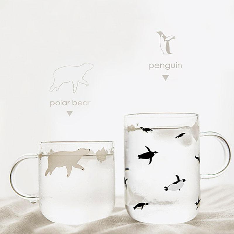 Fresh Handmade Glass Mugs Polar Bear or Penguin Style Coffee Cups with Handle Mornin Glass Mug