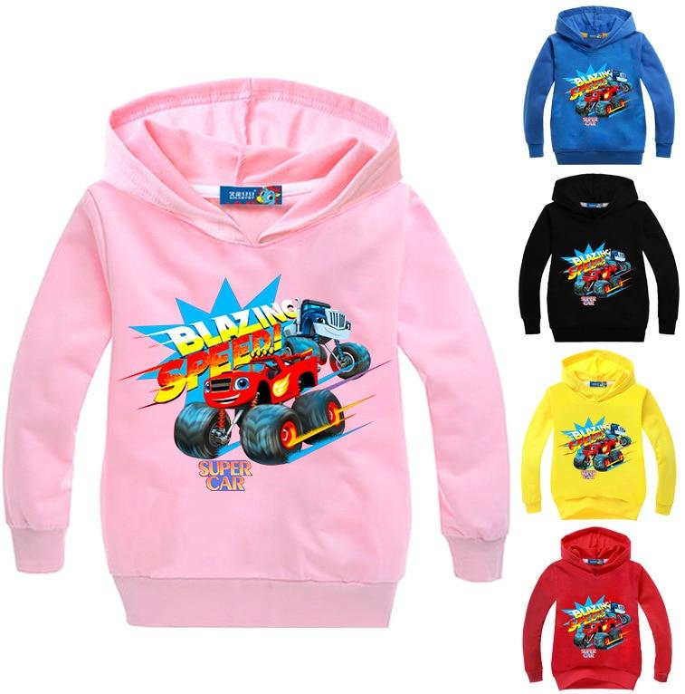 T shirt Blaze Car Clothes Boys Long Sleeve Sweatshirt Hoodies Tshirt Kids Girls shirts Clothing