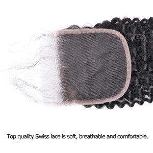 Image 4 - YVONNE Cierre de cabello humano virgen brasileño, rizado, cierre de encaje, 4x4, Parte libre, Color Natural