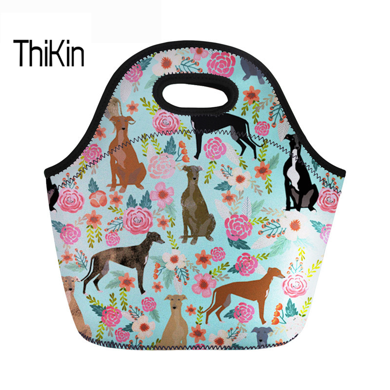 THIKIN Food Package For Women Fashion Neoprene Lunch Bag Female Greyhounds Cute Dog Print Thermal Children Lunchbox With Zipper