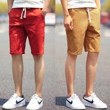 Шорты мужские летние модные однотонные мужские хлопковые шорты в повседневном стиле тонкие бермуды Masculina пляжные шорты классические шорты до колена