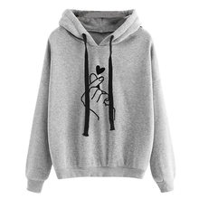 2019 Koreaanse Mode Hooded Top Sweatshirt Vrouwen Hoodies Casual Losse Hart Vinger Patroon Lange Mouwen Kawaii Pullover Streetwear(China)