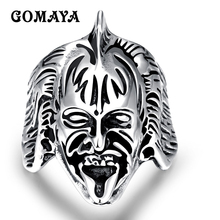 GOMAYA Unique Personality Design Style Stainless Steel Punk Skulls Figure Rings for Men  Rocker Titanium Anillos