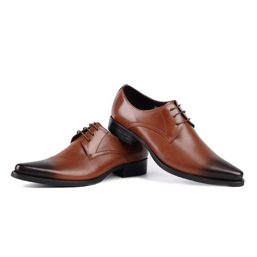 Nova Flats Vintage Calçados Ymx31 Formal marrom Festa Grão Sapatos Homem Genuíno Apontou Vestido De Couro Toe Masculinos Chegada Cheio Casamento Derby Do Preto 6RrYzxw6qZ