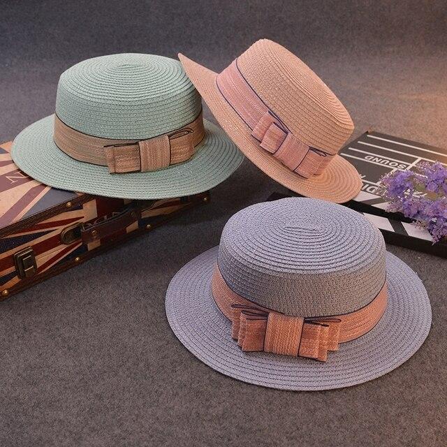 2016 Korean Flat Along Flat Bow Lady Hat Cap Candy Color Along Chapeu Feminino Hat Woman Summer Sun Visors For Women Elegant Hat