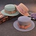 2016 de Corea Plana A Lo Largo de Proa Plana Señora Sombrero Tapa Del Color Del Caramelo a lo largo de Chapéu Feminino Mujer Sombrero Del Verano Viseras Para El Sol de Las Mujeres Elegantes sombrero