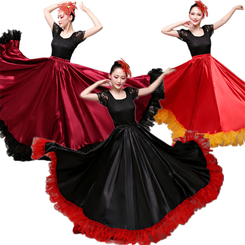 Flamenco Skirts Spanish Dress For Women Dance Costumes Gypsy Swing Skirt Chorus Stage Performance Spain Bullfighting Bigdance
