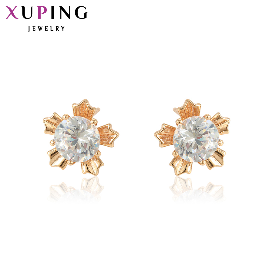Xuping Elegant Earring New Design Gold Gold Plated Brand Fashion Jewelry Stud Earrings para Mujeres Regalo de Navidad Y4-XE2017