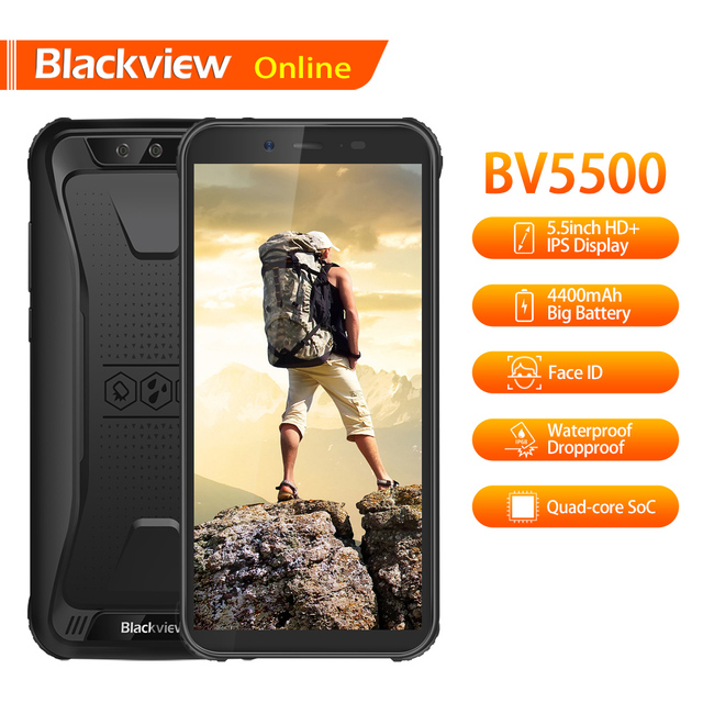 "Blackview BV5500 5.5"" IP68 Waterproof Rugged Mobile Phone 2GB+16GB 18:9 Screen 4400mAh Android 8.1 Dual SIM 3G Tough Smartphone"