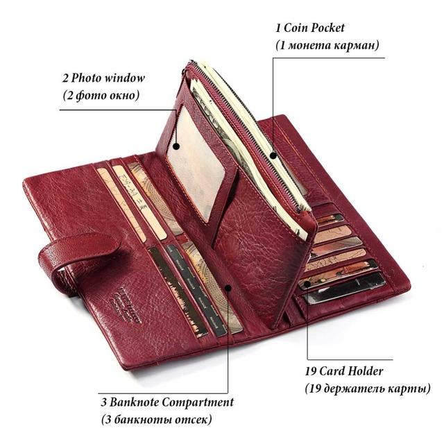 KAVIS billetera Cartera de cuero genuino para mujer bolso de mano largo de señora Walet Portomonee Rfid de lujo de marca de Dinero Con cremallera mágica monedero