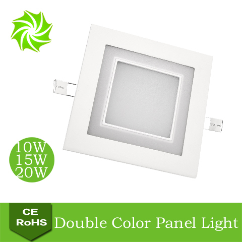 White+Blue Square 10W 15W 20W Double Color LED Panel Light Restaurant / Bedroom Integrated High Bright Ceiling Lights - ShenZhen YOUYILI Lighting Co., Ltd. store