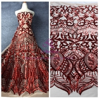 La Belleza Red gold /green/black/red on nude net embroidery sequins evening/wedding dress lace fabric 51'' width 1 yard