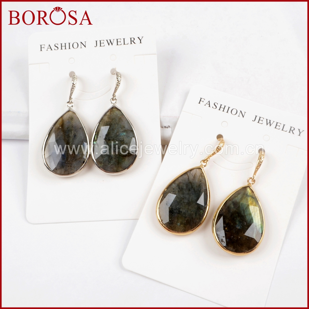 BOROSA Fashion Jewelry 3/5Pairs Gold/Silver Color Faceted Labradorite Stone Dangle Earrings Gems Stone Women Earrings WX952