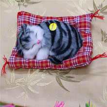 2016 Lovely Simulation Animal Doll Plush Sleeping Cats Toy with Sound Kids Toy Birthday Gift Doll Decorations stuffed toys