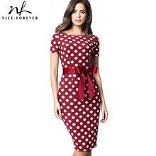 Güzel Sonsuza Kadar Vintage Zarif Retro Polka Nokta Çizgili vestidos İş Parti Bodycon Kılıf Kadınlar kadın elbisesi B536