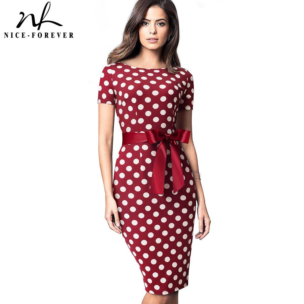 Nice-Forever Vintage Elegant Retro Polka Dots With Stripes Vestidos Business Party Bodycon Sheath Women Female Dress B536