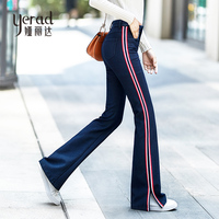 YERAD 2018 New Autumn Jeans Woman Casual Side Striped Long Denim Flare Pants Slim High Waist Bell Bottom Jeans