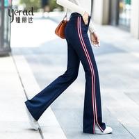 YERAD 2018 New Autumn Jeans Woman Casual Side Striped Long Denim Flare Pants Slim High Waist Bell Bottom Jeans