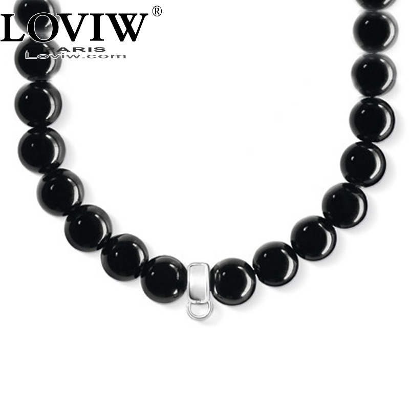Black Obsidian beaded necklace for DIY charm jewellery making thomas sabor jewelry carrier necklaces choker for men women hot