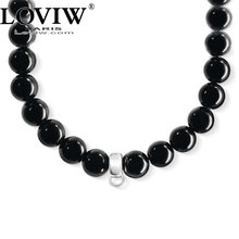 Black Obsidian beaded necklace for DIY charm jewellery making thomas sabor jewelry carrier necklaces choker for men women hot(China)