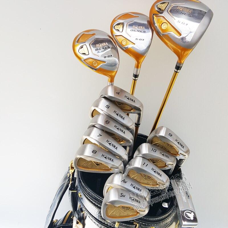 New HONMA Golf club set S-03 4 stelle Compelete club set Golf Driver + 3/5 wood + ferro + putter e Golf Grafite albero Spedizione gratuita