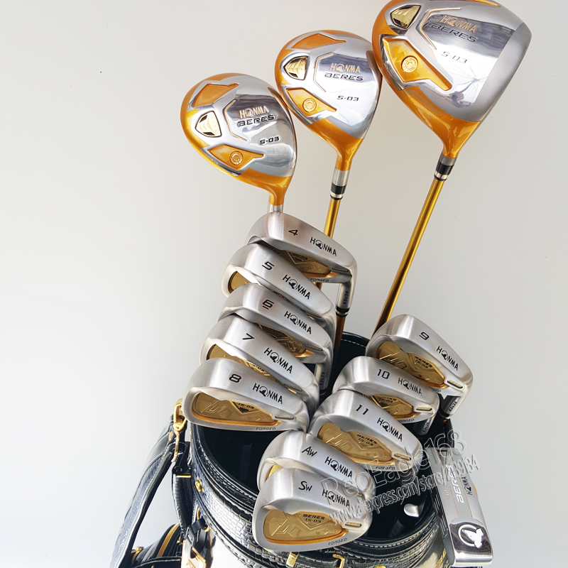 New HONMA Golf clubs set S-03 4 star Compelete club set Golf Driver+3/5wood+irons+putter and Graphite Golf shaft Free shipping new 525 golf clubs honma bezeal 525 complete set honma golf driver wood irons putter graphite golf shaft plus bag free shipping