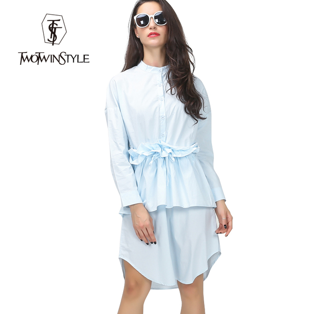 [TWOTWINSTYLE] 2016 Spring Ruffles Pleated Drawstring Waisted Shirt Women Dress Long Sleeve New Casual Clothing Fashion