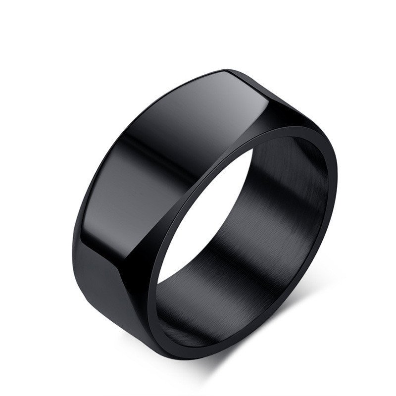 Vintage Style jewelry 8mm Stainless Steel Biker Rings for Men Bands Polished Black Silver Ring