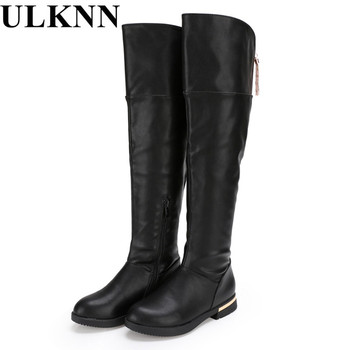 ULKNNgenuine leather thigh high boots Girls for winter kids shoes  children's snow child ever after high boots  Boots for girls