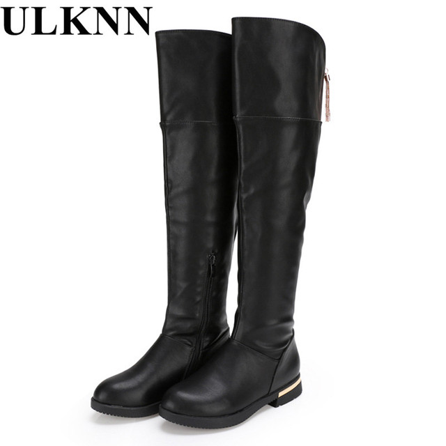 ULKNNgenuine leather thigh high boots Girls for winter kids shoes  children s snow child ever after high ab0bf2327ff8