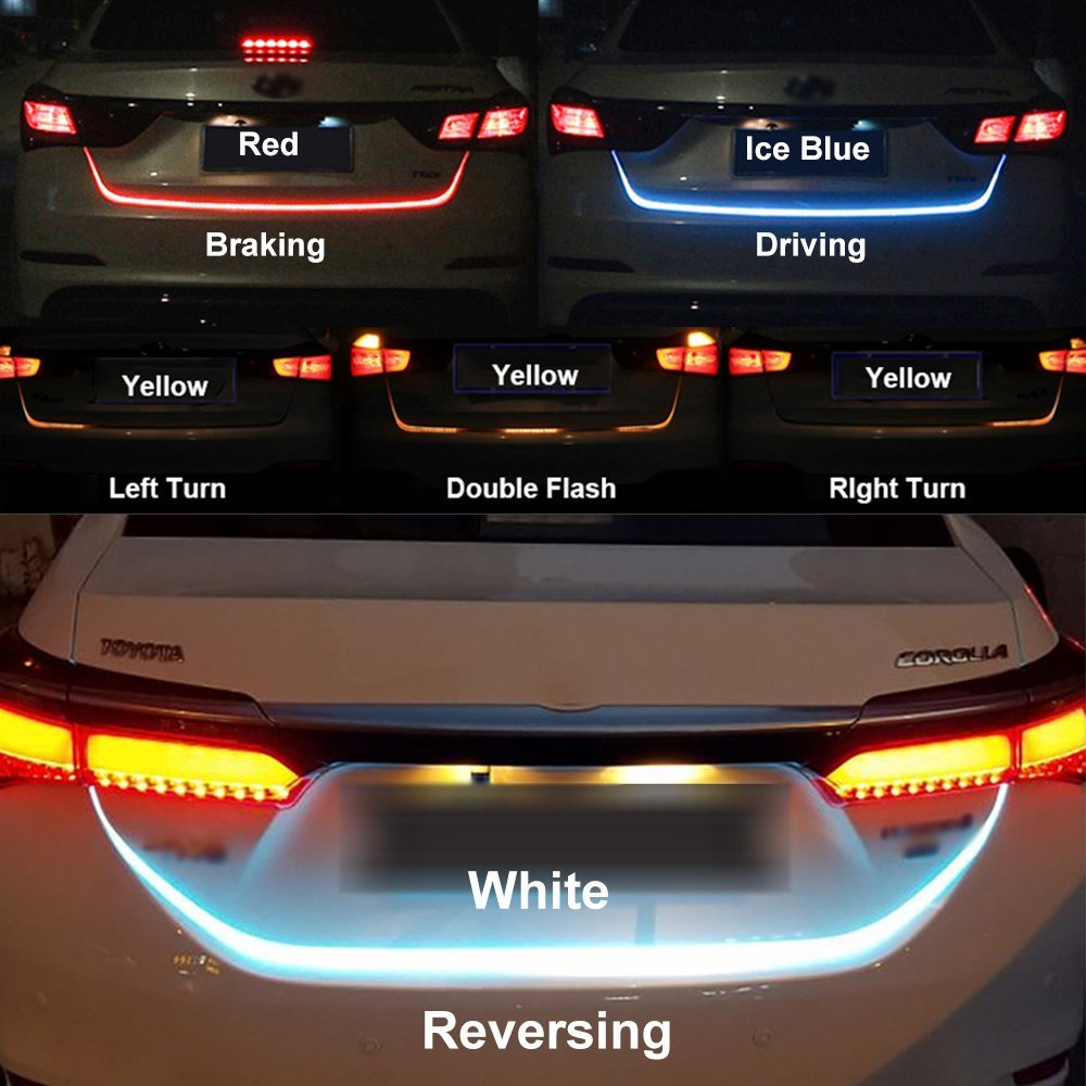 SITAILE Car LED Strip Lighting Rear Trunk Tail Light Dynamic Streamer Brake Turn Signal Reverse Leds
