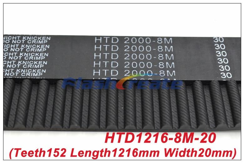 1pcs HTD8M Belt 1216 8M 20 Teeth=152 Length=1216mm Width=20mm 8M Timing Belt Rubber Closed-Loop Belt 1216-8M S8M Timing Pulley