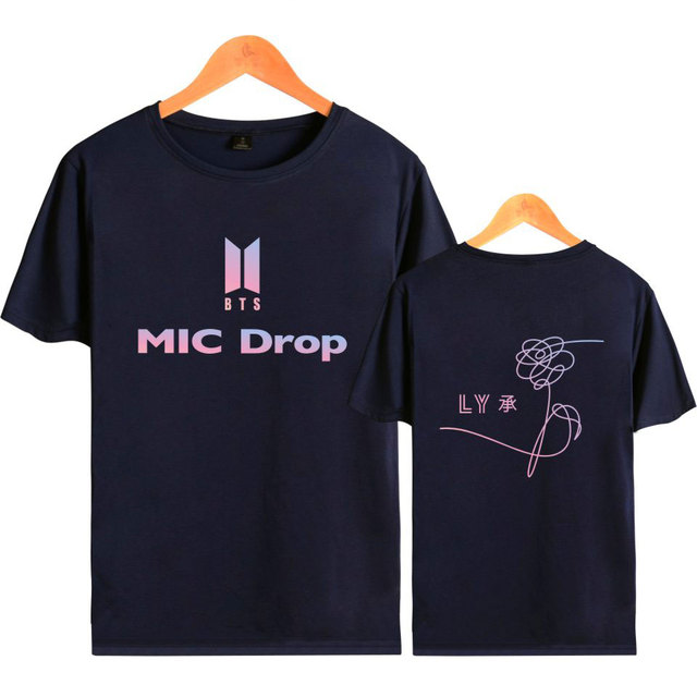0abf8b41f Kpop BTS MIC Drop T-shirt Love YourSelf Print T-shirt Women Cotton Korean