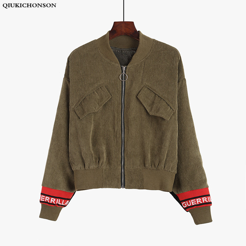 Corduroy Harajuku Fashion Bomber Jacket Women Vintage Womens Jackets And Coats Zip Long Sleeve Cropped Baseball Coat