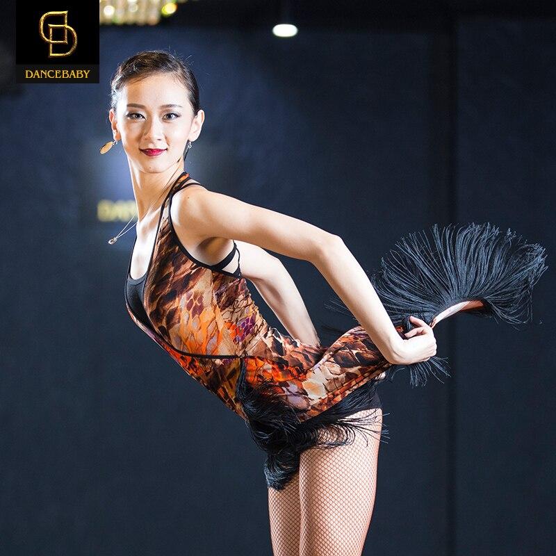 Picture of 2016 Woman New Halter Collar V Oblique Fringed Dance Skirt Tassel Printing Elastic Dress Rumba/Samba Dance Practice Dress