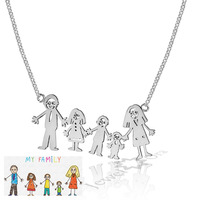 Family Gifts Personalized 925 Sterling Silver Loving Family Drawing Christmax Gift Custom Necklace Mom Jewelry Birthday Gift