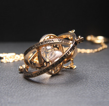 Trendy Harry Potter Time Turner Necklace Hermione Granger Rotating Spins Gold Hourglass for Gift