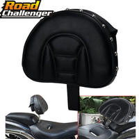 Backrest Black Adjustable Plug In Driver Rider Seat Cushion Pad Motorcycle For Harley Fatboy Heritage Softail 2007 2016 2017