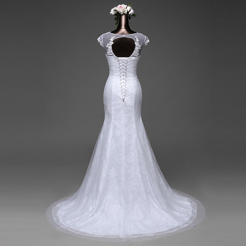 Elegant Mermaid Wedding Dress Removable Skirt With A Train And Lace Back 8