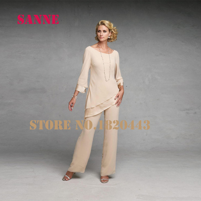 0cac1b89e49 Elegant Mother of The Bride Pant Suits Dresses Long Sleeves Chiffon Groom  Champagne BlackGowns Cheap Wedding Party Dress