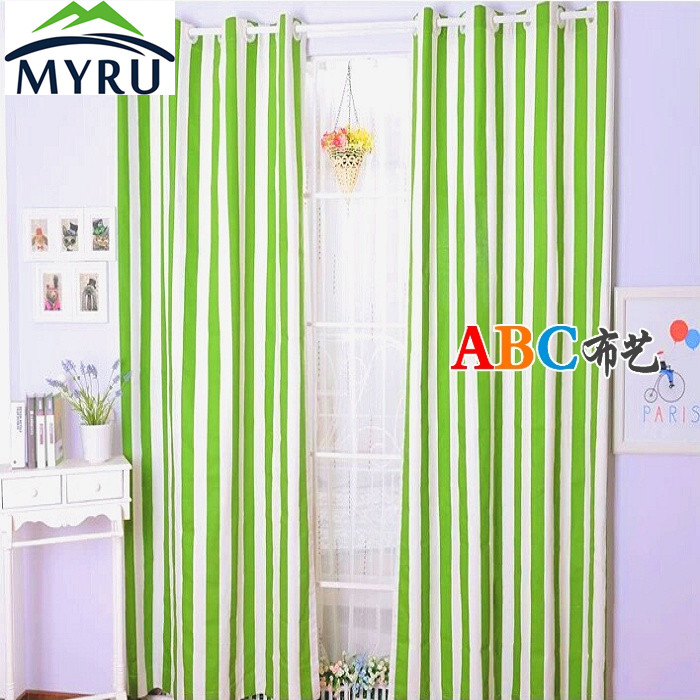 MYRU Garden Green And White Striped Thick Cotton Canvas Curtains Semi  Shande Cloth Curtain Bedroom Living