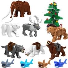 Single Sale Legoingly Lord of the Wolf Shark crocodile christmas tree Elk Polar bear Elephant Bricks Building Blocks Bricks Toys