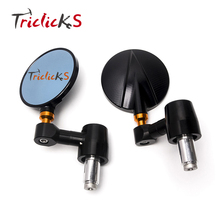 Triclicks Black Motorcycle Bike Round Rear Side View 7/8 Bar End Mirrors Universal CNC For Street Bikes Sports Bikes Choppers triclicks 22mm handle bar motorcycle end side mirrors 7 8 cnc rear view mirror universal for street bikes sports bikes choppers